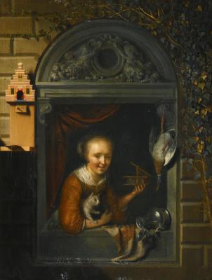 Геррит (Герард) Доу. Женщина в окне с кошкой и мышеловкой