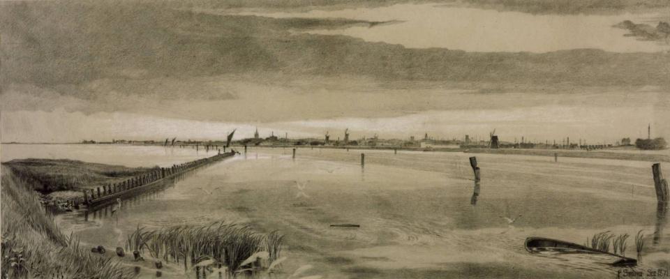 Anthony Frederick Augustus Sandys. Braginskaya water, Norfolk. Sketch
