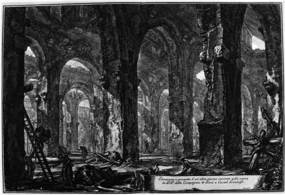 Giovanni Battista Piranesi. View of the baths in the castle of Castelgandolfo