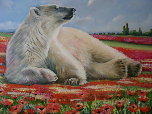 Хельга Эдуардовна Григорьева. White bear on a field of poppies.