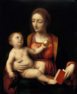 Бернардино Луини. Мадонна с младенцем, держащим яблоко