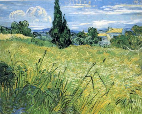 Винсент Ван Гог. Зеленое пшеничное поле с кипарисом