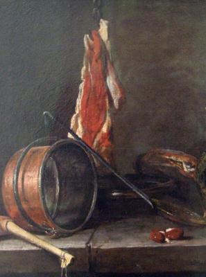 Жан Батист Симеон Шарден. «Скудная диета». Натюрморт с мясом и кухонной посудой. Фрагмент
