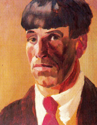 Stanley Spencer. A man with a red tie