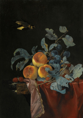 Willem van Aelst. Still life with poultry and fruit on the table