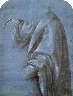 Giovanni Antonio Boltraffio. The outline of the robes of the Madonna