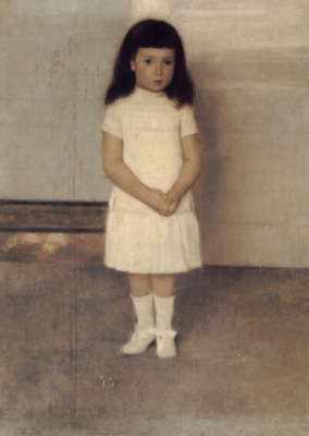Фернан Кнопф. Портрет стоящей девочки в белом