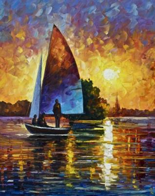 Leonid Afremov. The sunset on the lake