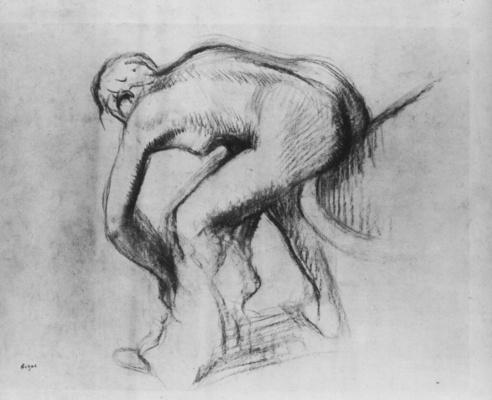 Эдгар Дега. Обнаженная на краю ванны, вытирающая ноги