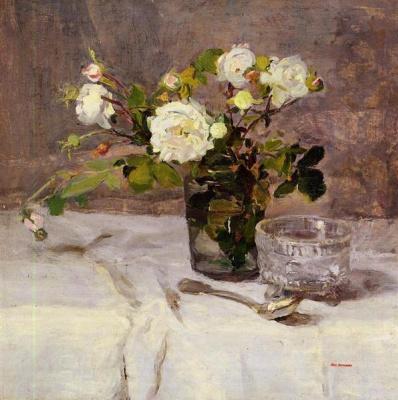 Eva Gonzalez. Roses in a vase