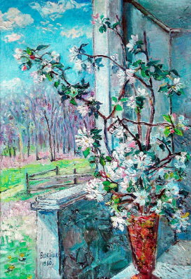 David Davidovich Burliuk. Flowering branch in a vase