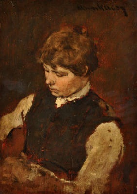 """Михай Либ Мункачи. Портрет юноши. Эскиз для картины """"В ломбарде"""""""