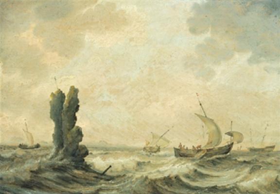 Ян Порселлис. Лодки в неспокойном море