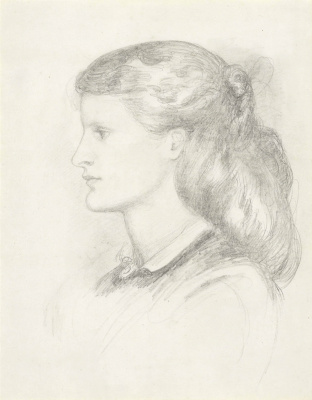 Dante Gabriel Rossetti. Portrait of Annie Miller in profile