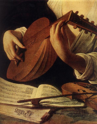 Michelangelo Merisi de Caravaggio. Lute player. Fragment