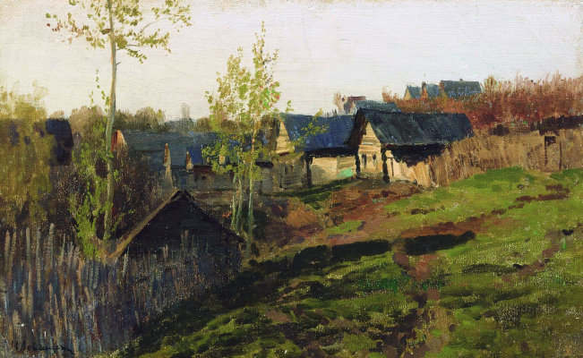 Isaac Levitan. Hut, lit by the sun