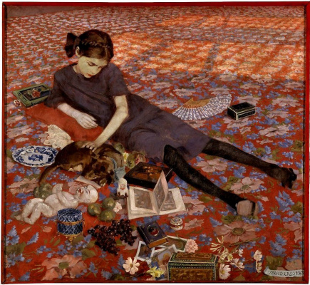 Felice Casorati. The girl on the red carpet