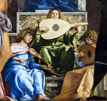 Джованни Беллини. Престол Святого Иова. Фрагмент. Музицирующие ангелы