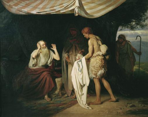 Alexander Nikonorovich Novoskoltsev. Jacob recognizes the clothes of Joseph. 1880