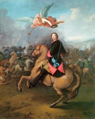 Johann Tannauer. Peter I in the battle of Poltava
