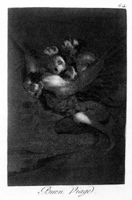 "Francisco Goya. ""Good luck!"" (Series ""Caprichos"", page 64)"