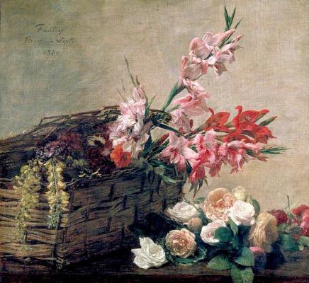 Henri Fantin-Latour. Gladioli and roses