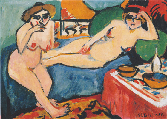 Ernst Ludwig Kirchner. Two Nudes on a blue sofa