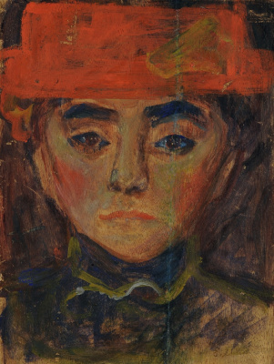 A woman in a red hat