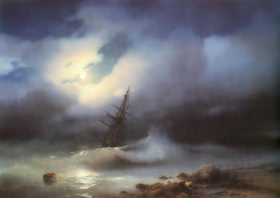 Ivan Aivazovsky. Stormy sea at night