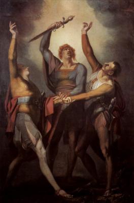 Johann Heinrich Fuessli. Three Swiss take an oath on the Rütli mountain