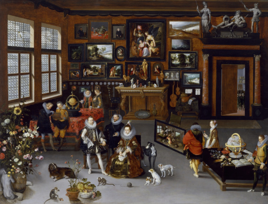Jan Bruegel The Elder. Archduke Albert and Archduchess Isabella in the office of the collector