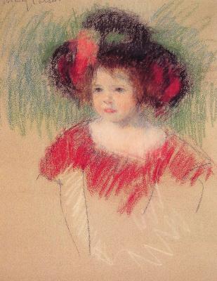 Mary Cassatt. Margot in a big hat and a red dress