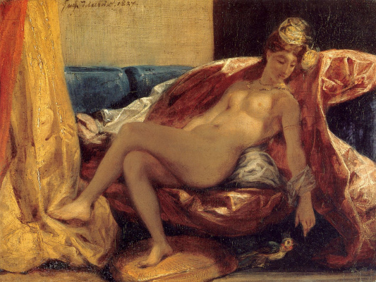 Eugene Delacroix. Reclining odalisque or woman with a parrot