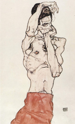Egon Schiele. Nude with red scarf