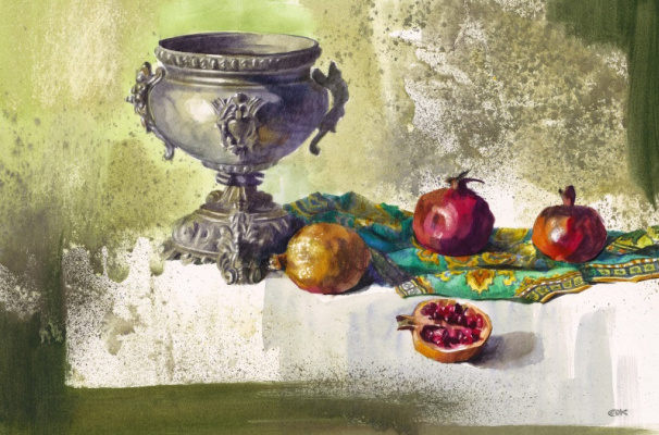 Александр Карпан. Натюрморт с серебряной вазой