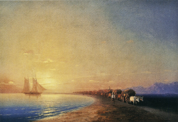 Ivan Aivazovsky. The wagon, drawn by oxen on the shore of the sea