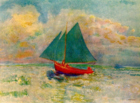 Odilon Redon. Red boat with blue sail