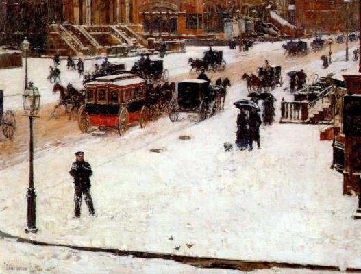 Childe Hassam. Fifth Avenue in winter