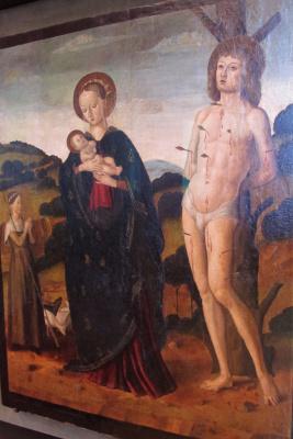 Джованни Санти. Мадонна с младенцем и Св. Себастьян