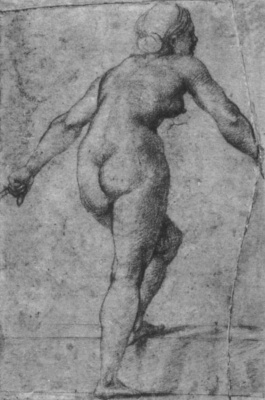 Raphael Santi. Study for the frescoes of the Loggia of psyche. Standing Nude