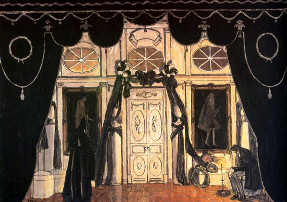 """Alexander Yakovlevich Golovin. Memorial hall. A sketch of the scenery to the drama by M. Lermontov """"Masquerade"""""""