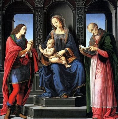 Lorenzo di Credi. Madonna and child with saints Julian and Nicholas of Myra