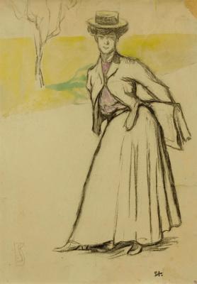 Женщина с сумочкой в парке