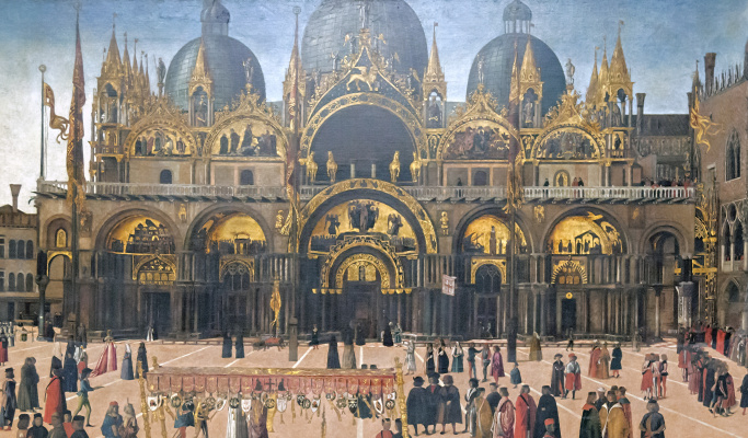 Gentile Bellini. The procession of the relics of the Holy Cross in St. Mark's Square. Fragment II