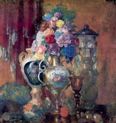 Николай Николаевич Сапунов. Вазы и цветы на розовом фоне