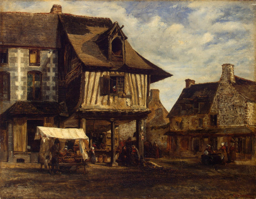 Theodore Rousseau. A market in Normandy
