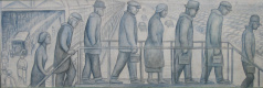 Panel depicting workers queuing for wages