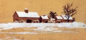 Максфилд Пэрриш. Зимний пейзаж с фермой. Эскиз