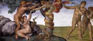 Микеланджело Буонарроти. Сикстинская капелла. Роспись потолка. Фрагмент: Грехопадение и Изгнание из Рая