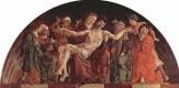 Козимо Тура. Алтарь Роверелла для Санта Джорджио в Ферраре, завершение люнета, сцена: Пьета со святыми